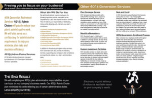 401k Generation - 401k Admin Choice Brochure - Inside