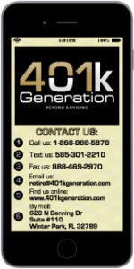 Front of Smart Phone Card for 401k Generation