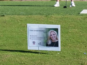 Pam Grabenhorst Realtor Hole Sponsor Sign at Golf Tournament